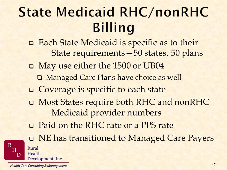 State Medicaid RHC/nonRHC Billing