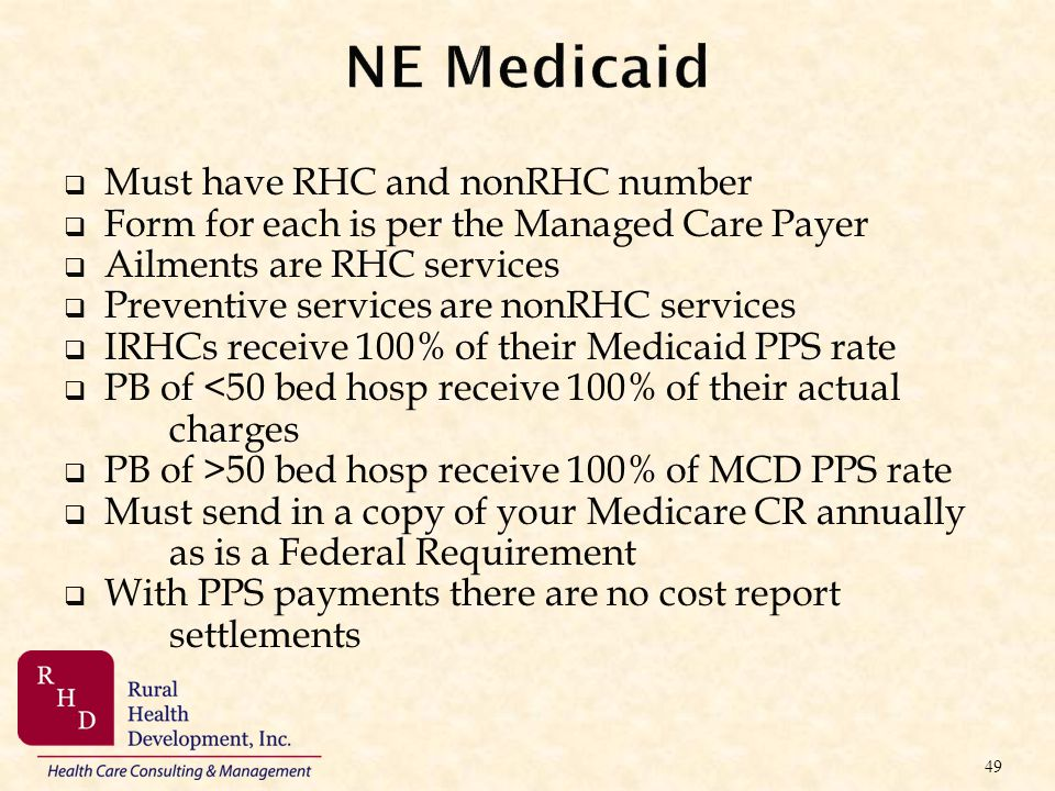 NE Medicaid Must have RHC and nonRHC number