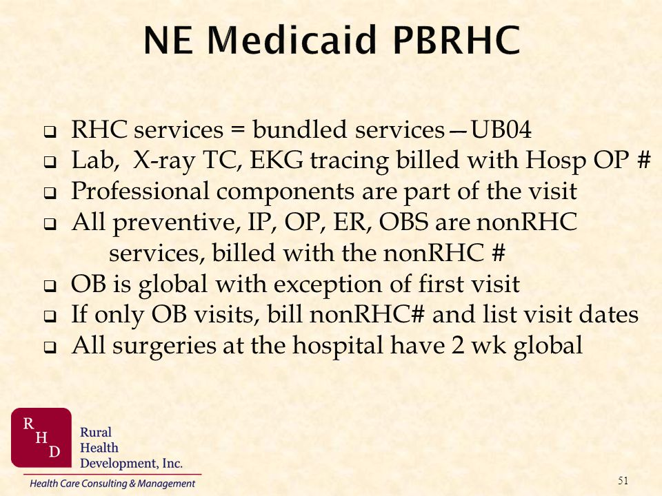 NE Medicaid PBRHC RHC services = bundled services—UB04