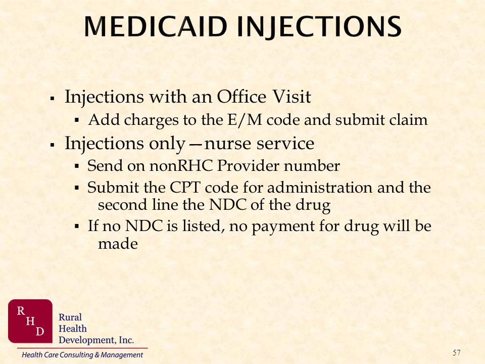MEDICAID INJECTIONS Injections with an Office Visit