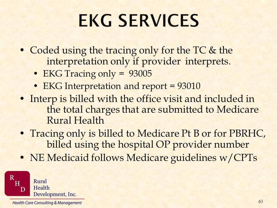 EKG Services Coded using the tracing only for the TC & the interpretation only if provider interprets.