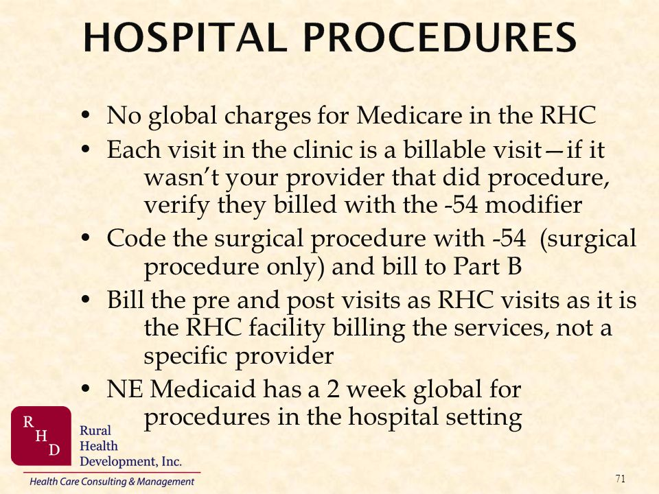 Hospital Procedures No global charges for Medicare in the RHC