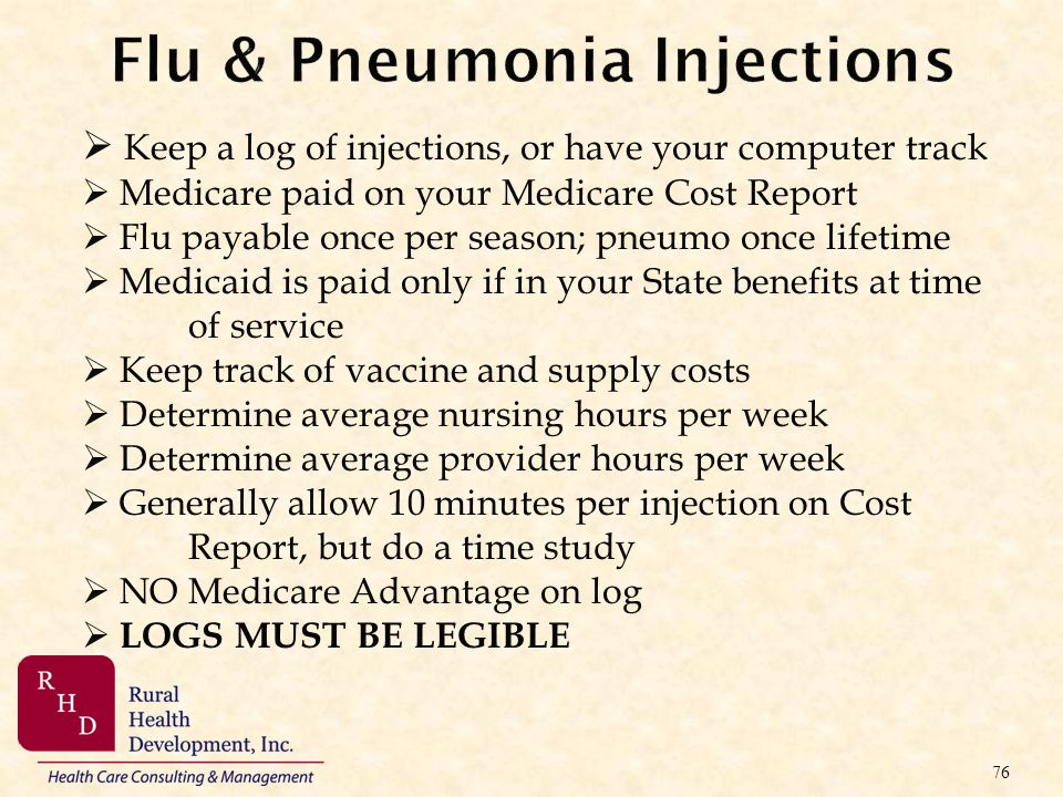 Flu & Pneumonia Injections