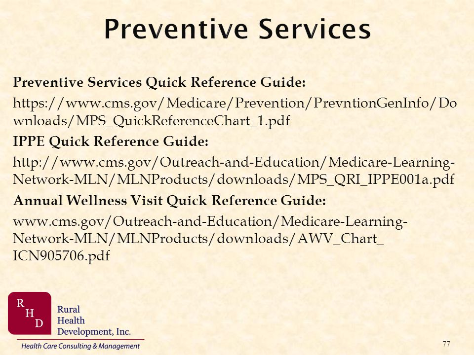 Preventive Services Preventive Services Quick Reference Guide: