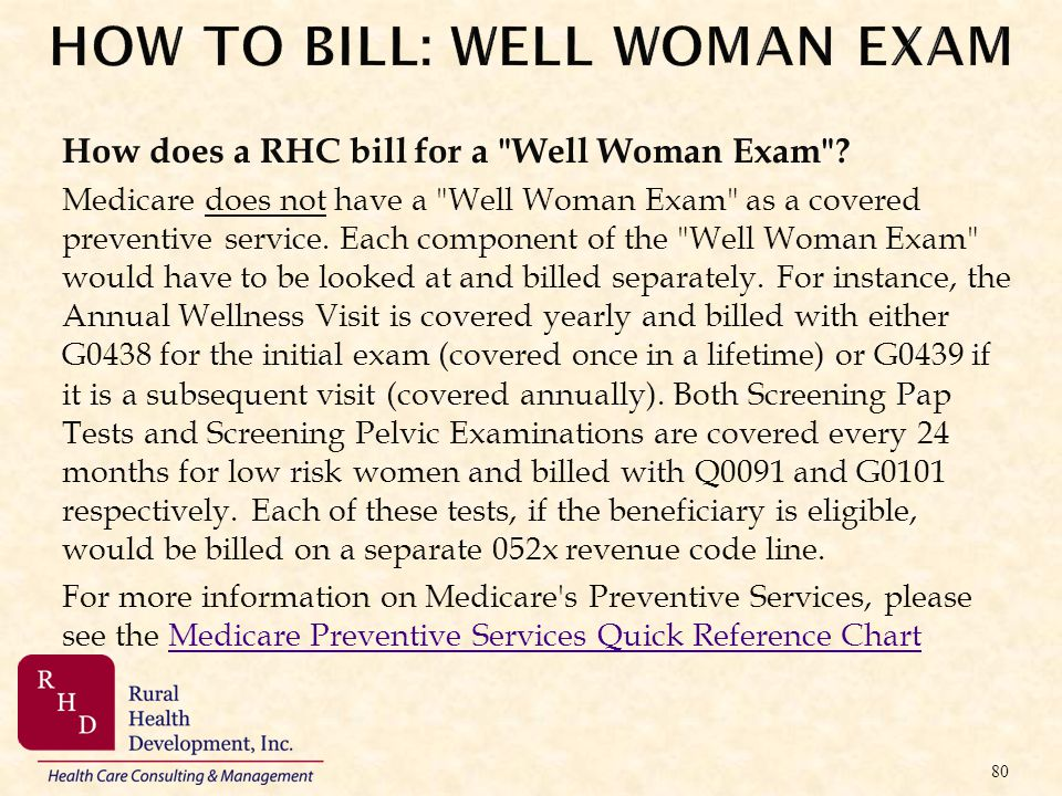 HOW TO BILL: WELL WOMAN EXAM