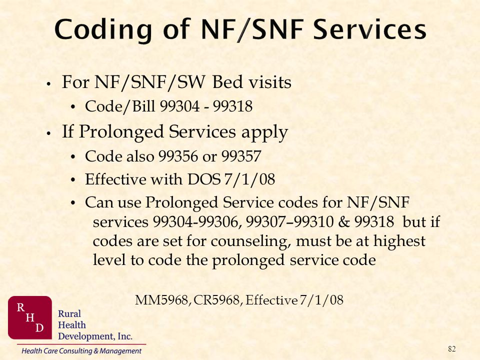 Coding of NF/SNF Services