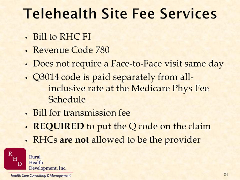 Telehealth Site Fee Services