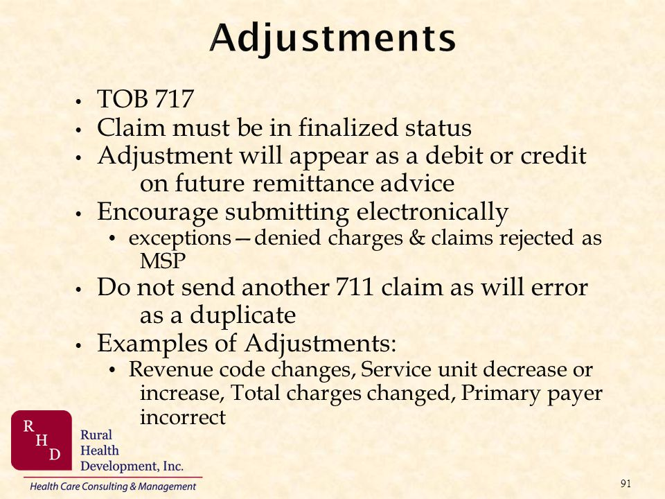 Adjustments TOB 717 Claim must be in finalized status