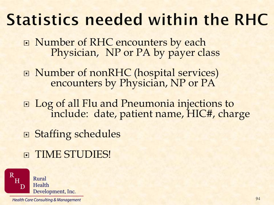 Statistics needed within the RHC