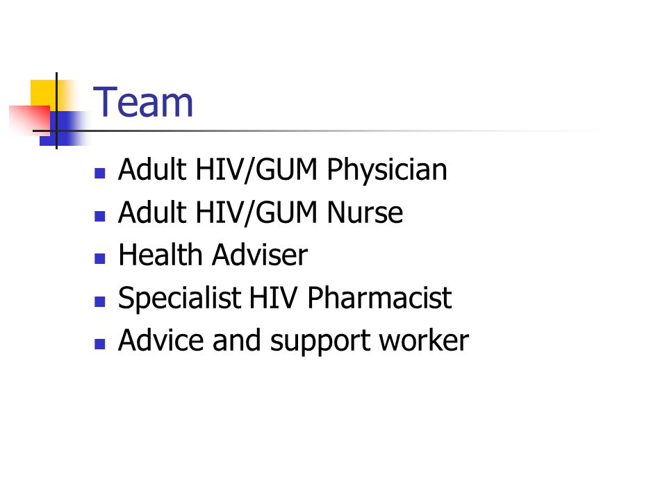 Team Adult HIV/GUM Physician Adult HIV/GUM Nurse Health Adviser