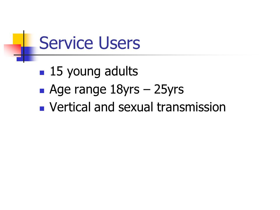Service Users 15 young adults Age range 18yrs – 25yrs