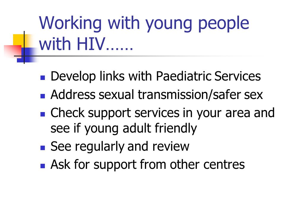 Working with young people with HIV……