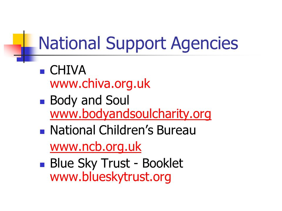 National Support Agencies