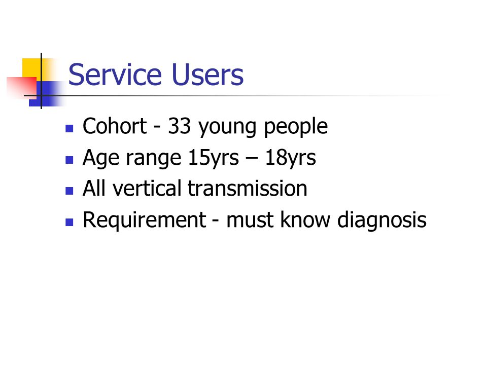 Service Users Cohort - 33 young people Age range 15yrs – 18yrs