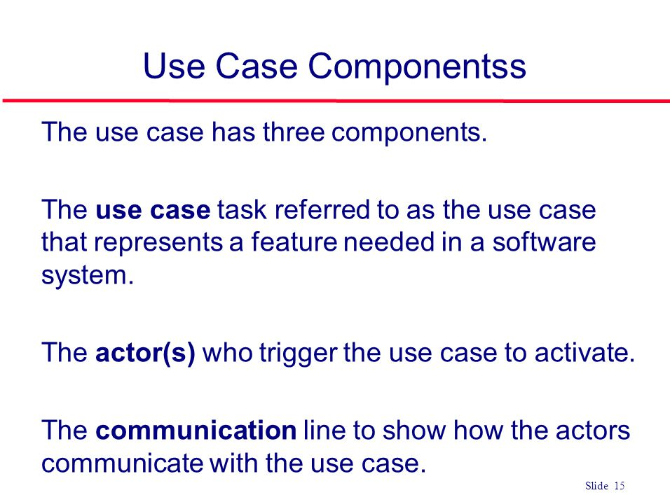 Use Case Componentss The use case has three components.