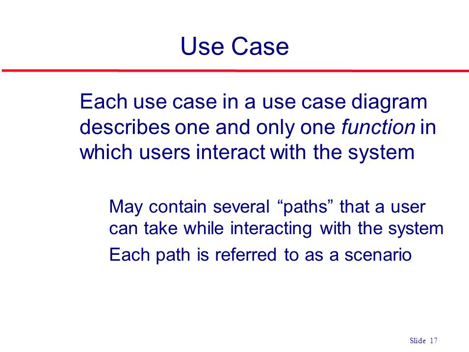 Use Case Each use case in a use case diagram describes one and only one function in which users interact with the system.