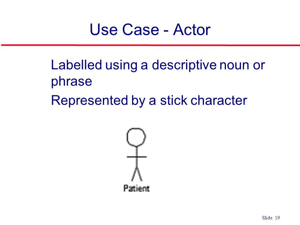 Use Case - Actor Labelled using a descriptive noun or phrase