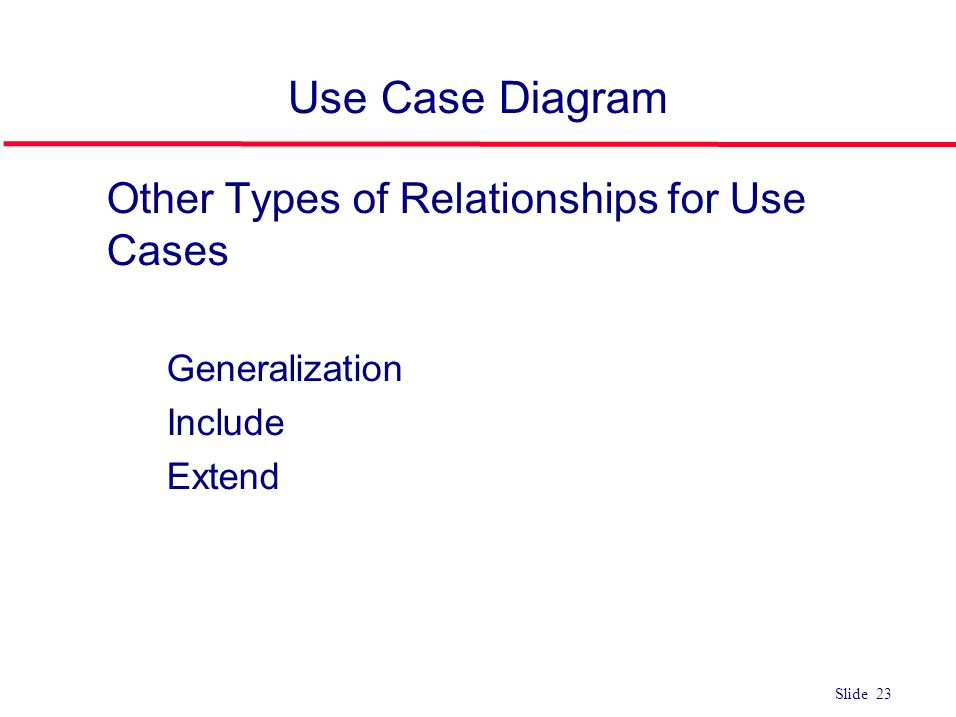 Use Case Diagram Other Types of Relationships for Use Cases