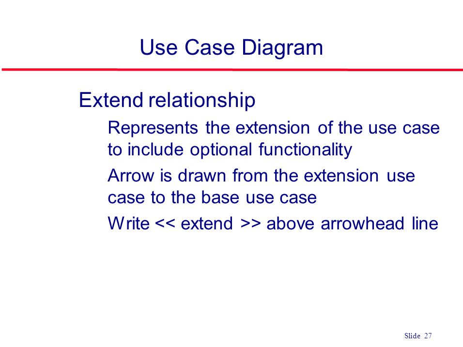 Use Case Diagram Extend relationship