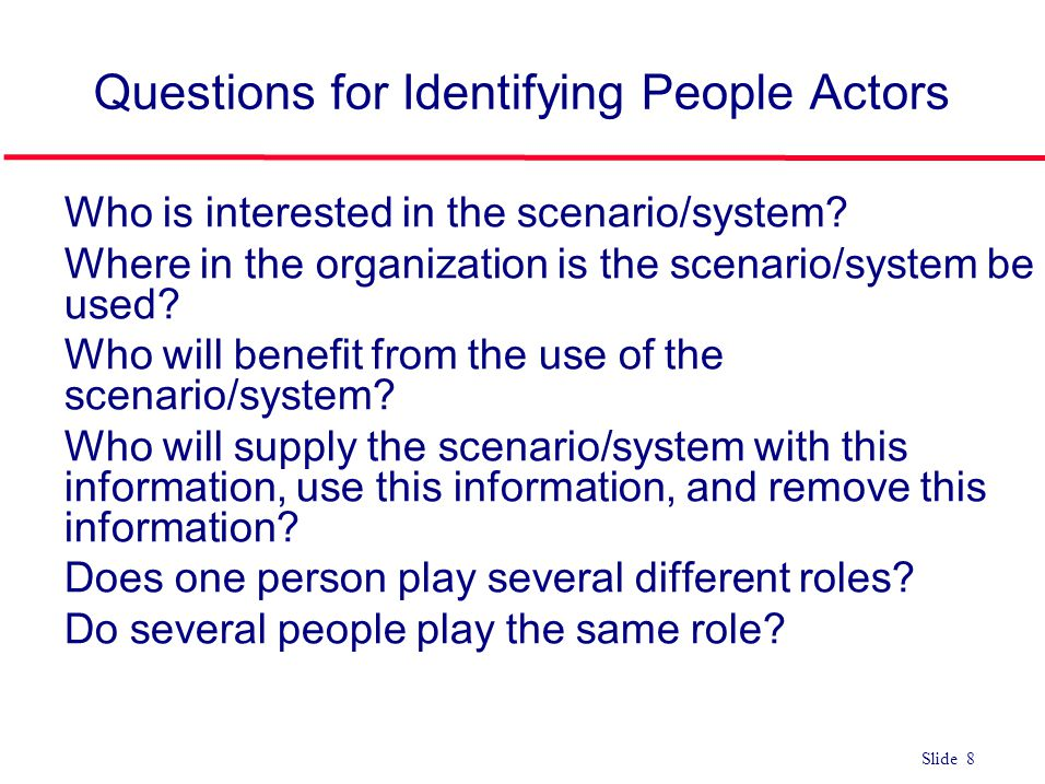 Questions for Identifying People Actors