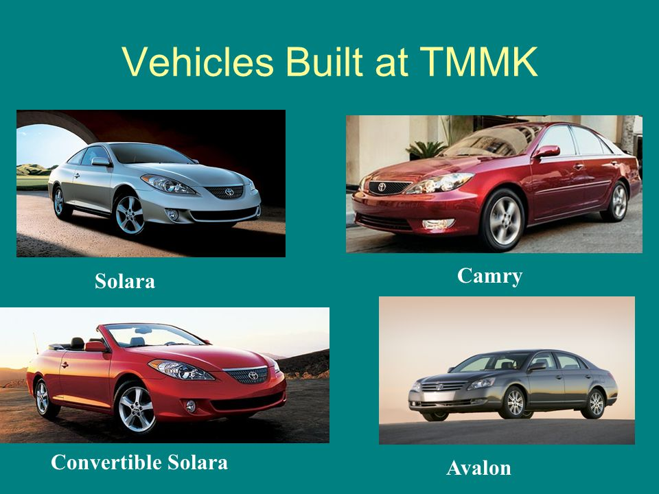 Vehicles Built at TMMK Camry Solara Convertible Solara Avalon