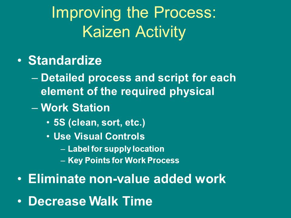 Improving the Process: Kaizen Activity