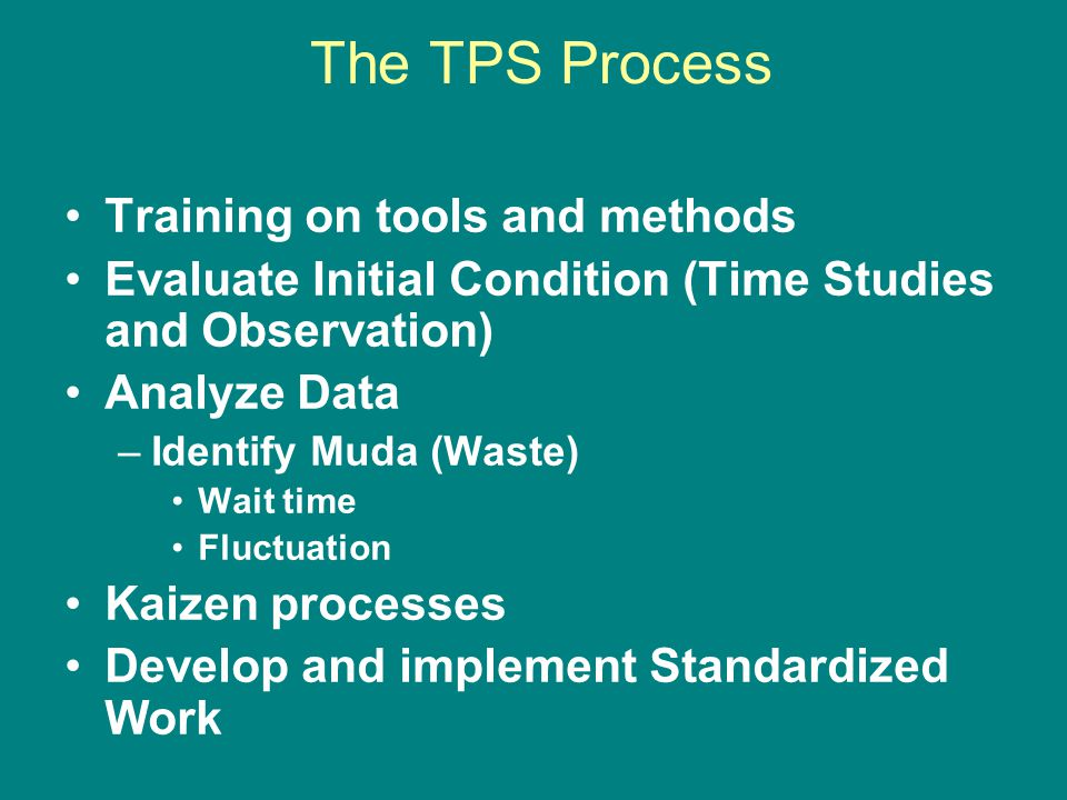 The TPS Process Training on tools and methods