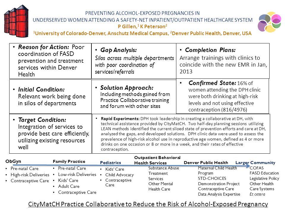 PREVENTING ALCOHOL-EXPOSED PREGNANCIES IN UNDERSERVED WOMEN ATTENDING A SAFETY-NET INPATIENT/OUTPATIENT HEALTHCARE SYSTEM P Gillen,1 K Peterson2 1University of Colorado-Denver, Anschutz Medical Campus, 2Denver Public Health, Denver, USA