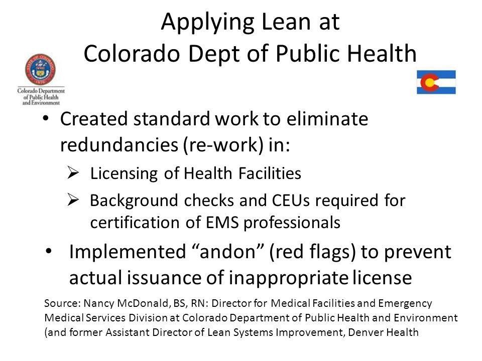Applying Lean at Colorado Dept of Public Health
