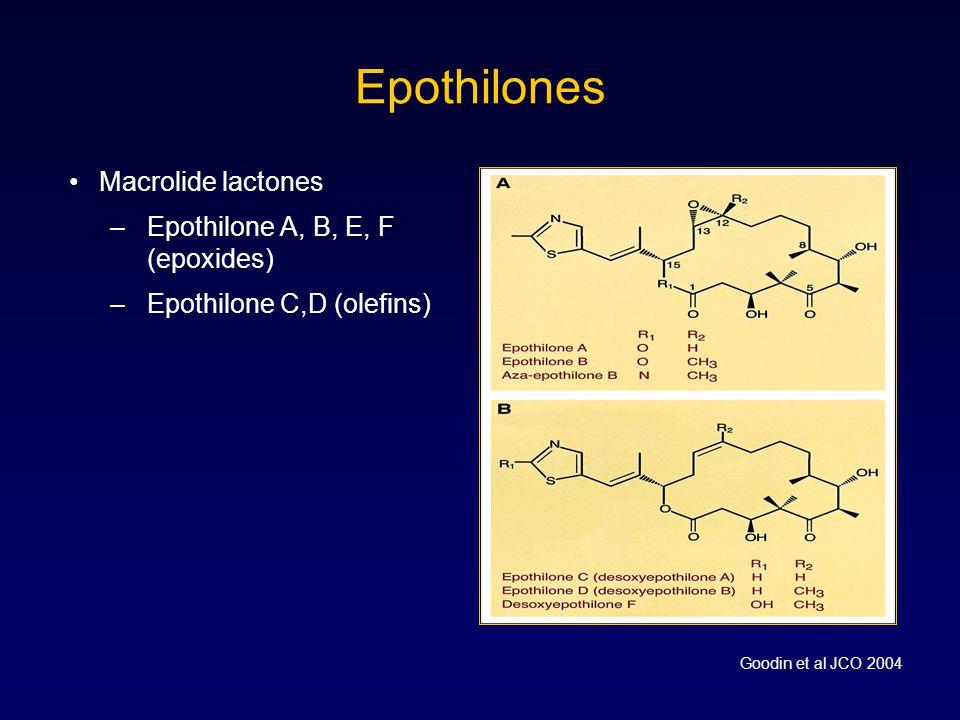 Epothilones Macrolide lactones Epothilone A, B, E, F (epoxides)