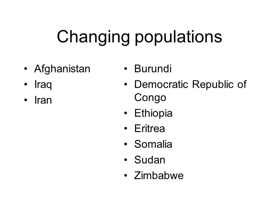 Changing populations Afghanistan Iraq Iran Burundi
