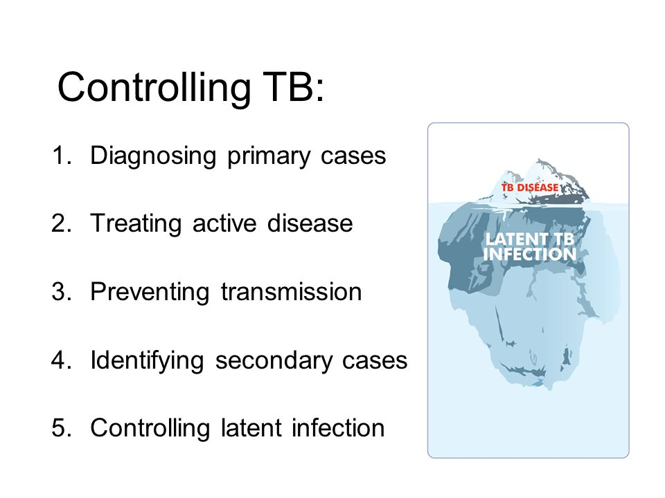 Controlling TB: Diagnosing primary cases Treating active disease