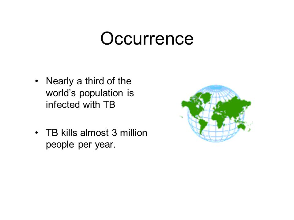 Occurrence Nearly a third of the world's population is infected with TB. TB kills almost 3 million people per year.
