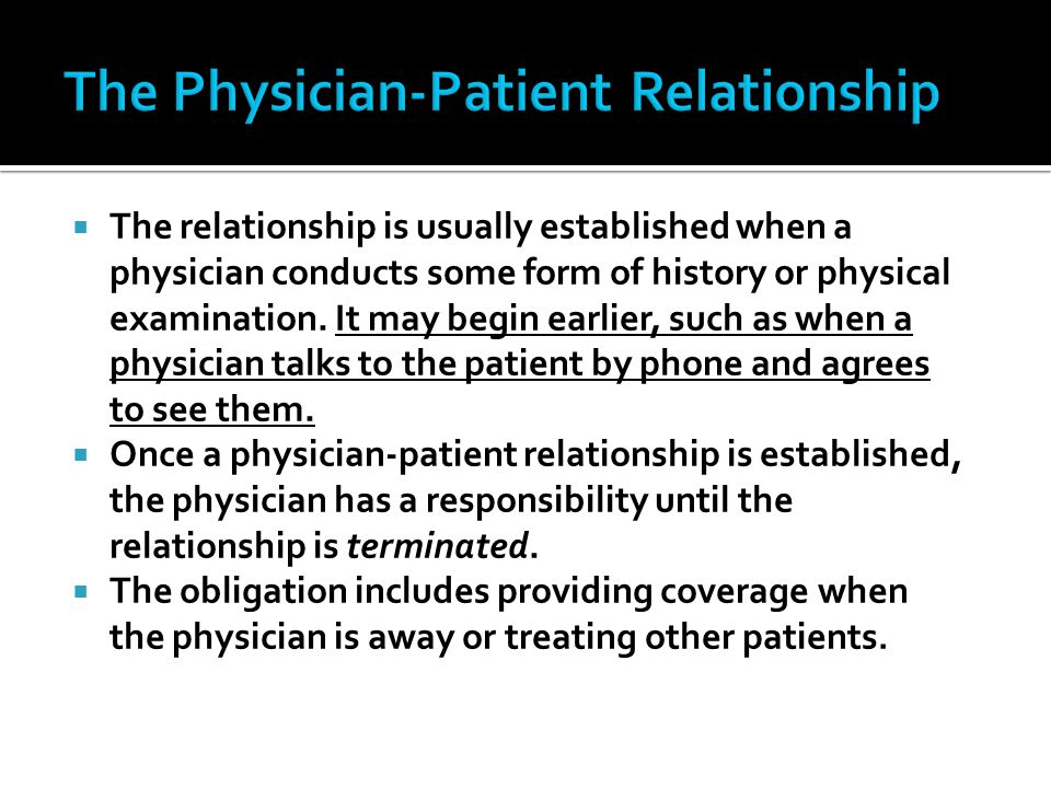 The Physician-Patient Relationship