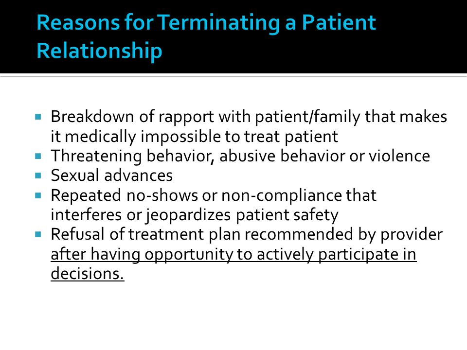 Reasons for Terminating a Patient Relationship