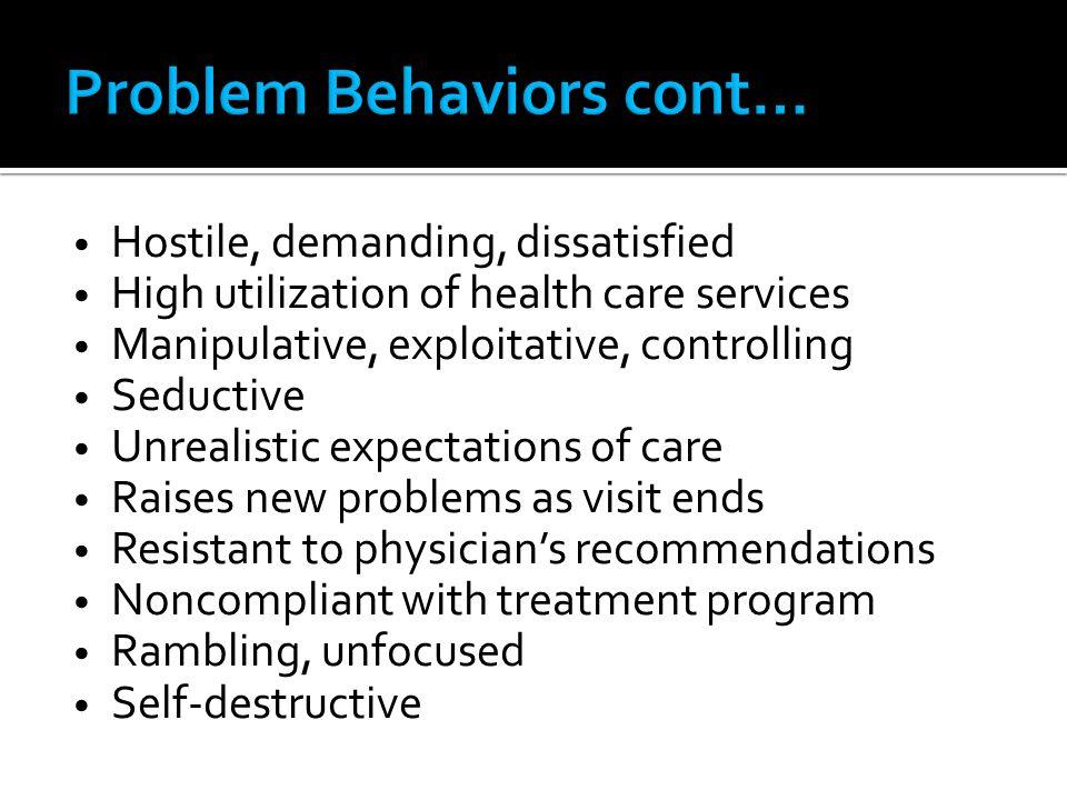 Problem Behaviors cont…