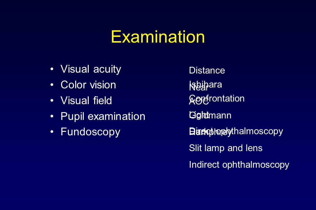 Examination Visual acuity Color vision Visual field Pupil examination