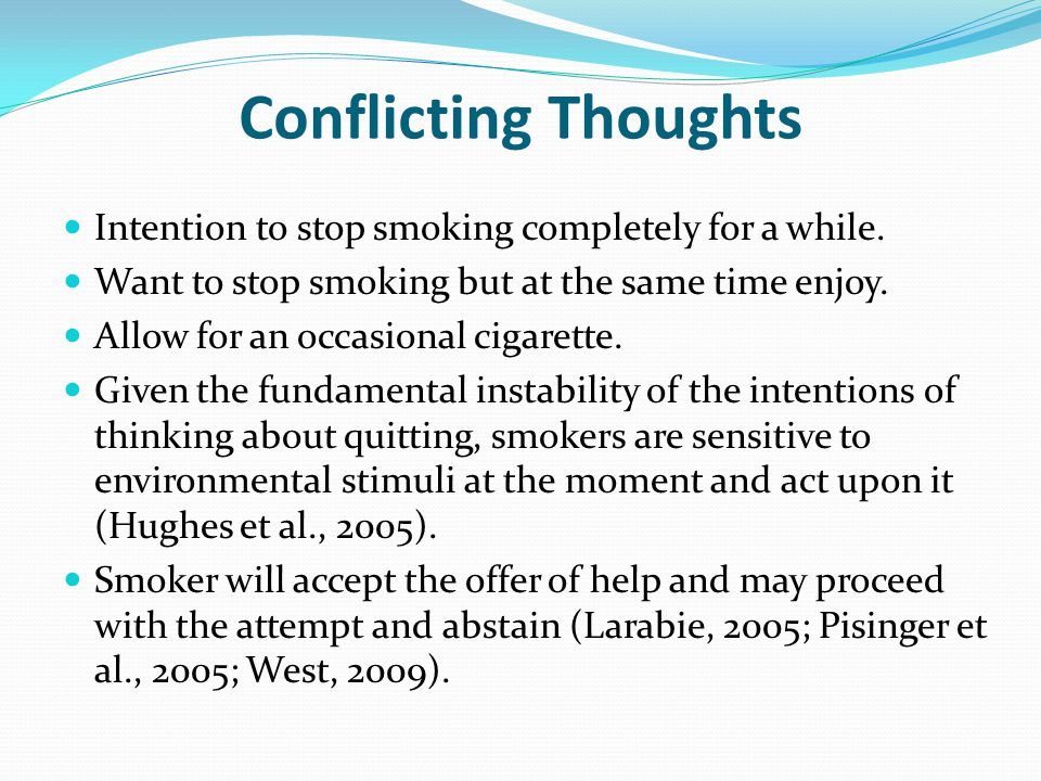 Conflicting Thoughts Intention to stop smoking completely for a while.