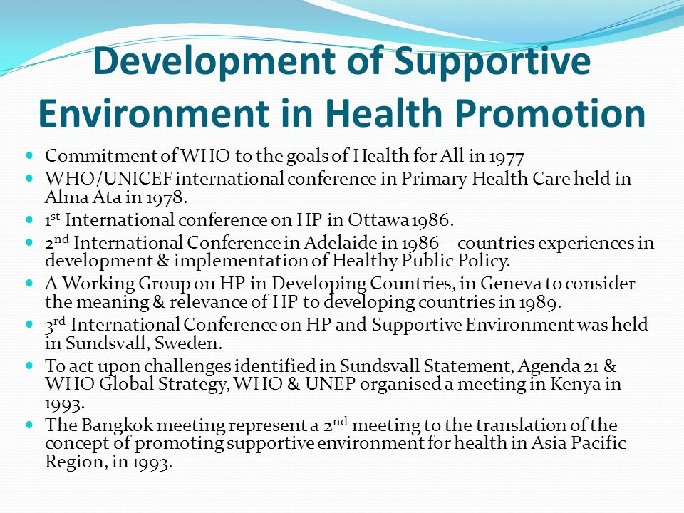 Development of Supportive Environment in Health Promotion