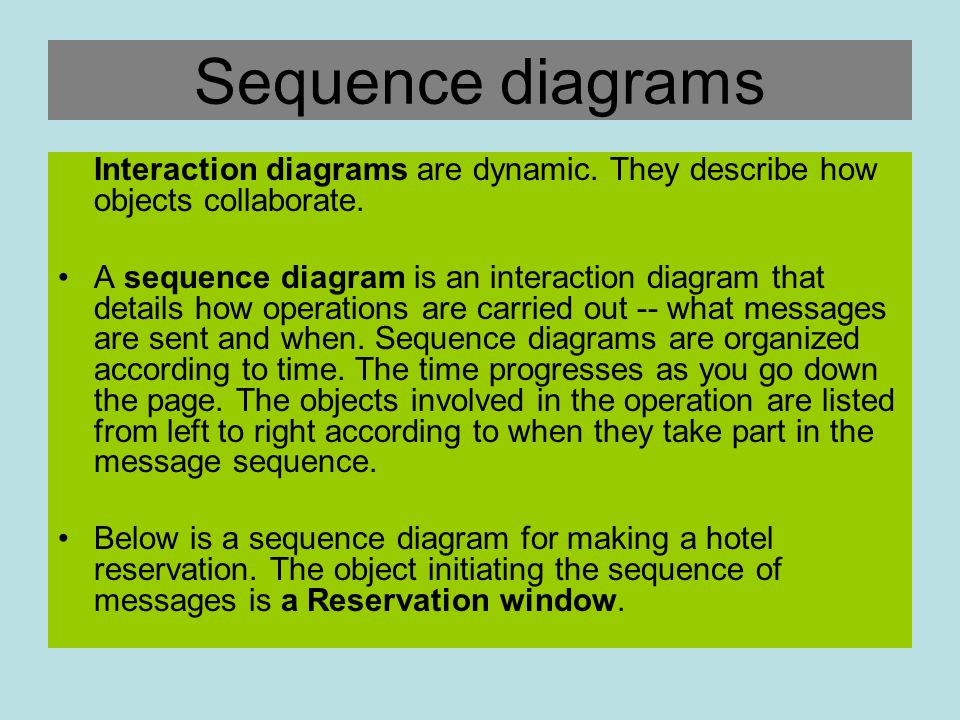 Sequence diagrams Interaction diagrams are dynamic. They describe how objects collaborate.
