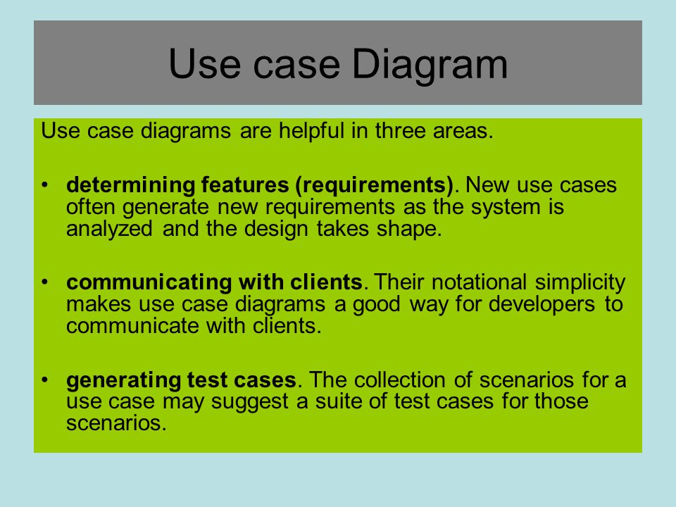 Use case Diagram Use case diagrams are helpful in three areas.