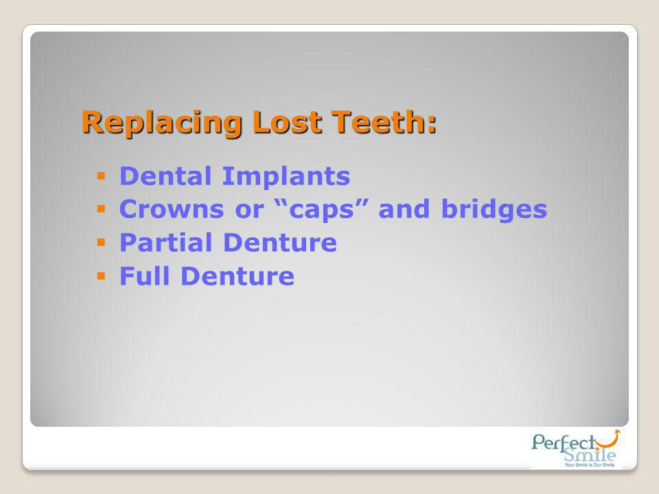 Replacing Lost Teeth: Dental Implants Crowns or caps and bridges
