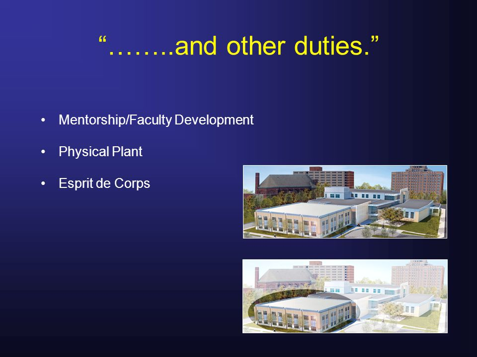 ……..and other duties. Mentorship/Faculty Development Physical Plant