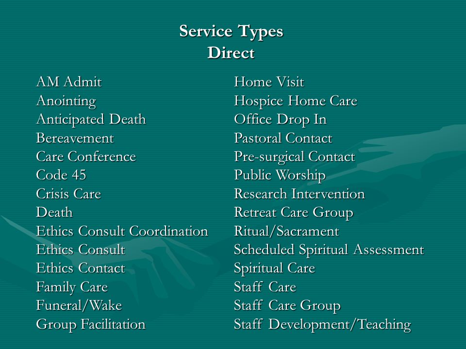 Service Types Direct AM Admit Home Visit Anointing Hospice Home Care