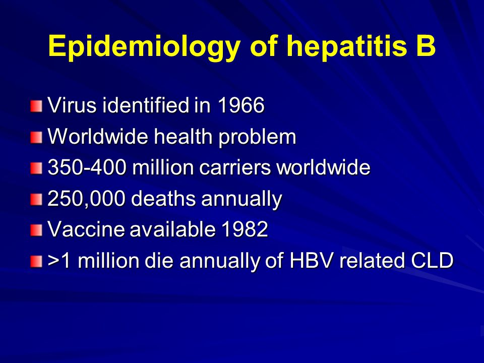Epidemiology of hepatitis B