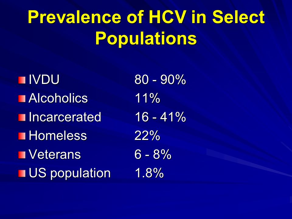 Prevalence of HCV in Select Populations