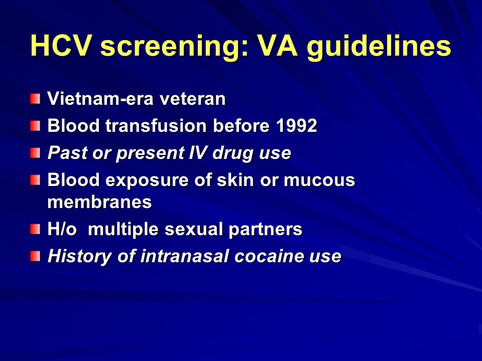 HCV screening: VA guidelines
