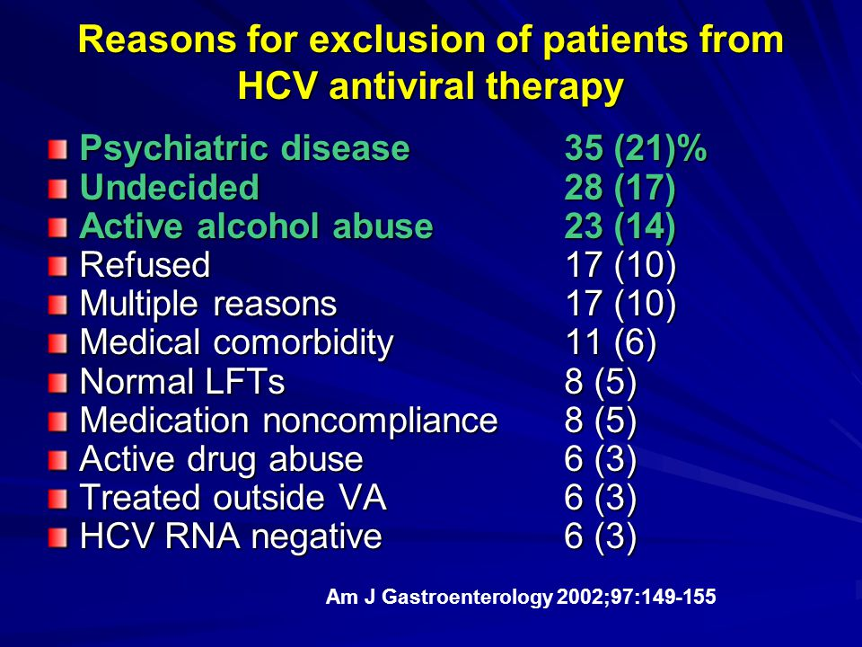 Reasons for exclusion of patients from HCV antiviral therapy