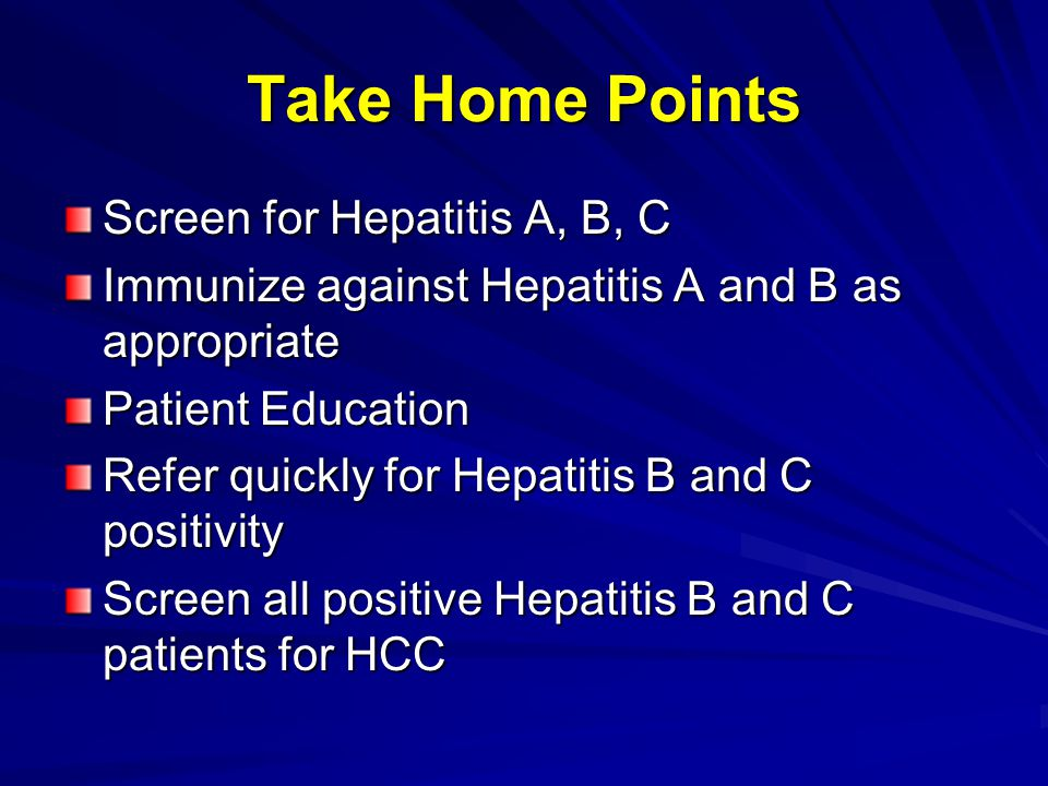 Take Home Points Screen for Hepatitis A, B, C