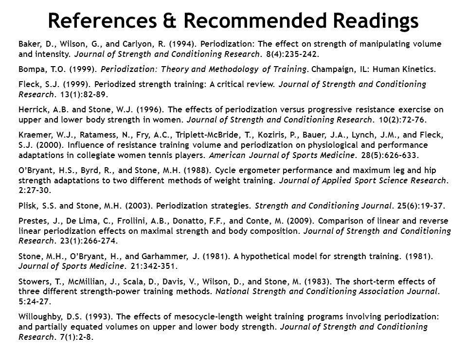 References & Recommended Readings